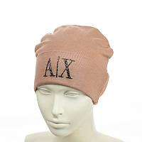"""Молодіжна шапка з трендовим патчем """"АХ"""", фото 1"""