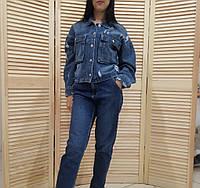 Укорочённая джинсовая куртка оверсайз