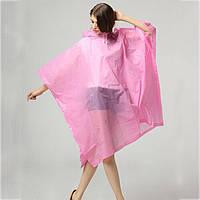 Дождевик для взрослых Пончо многоразовый розовый C-1060