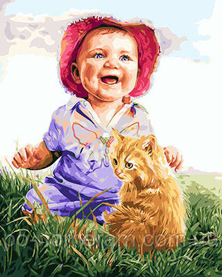 Картина по номерам Малыш и рыжий котик