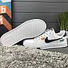 Кроссовки женские в стиле Nike Air белые с черным логотипом, фото 4
