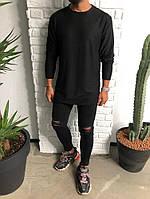 Мужской лонг модный черного цвета Black Island с круглым вырезом