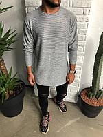 Мужской лонг модный серого цвета Black Island с круглым вырезом