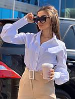 Блуза женская стильная свободного кроя с рукавами фонариками с пуговицами Bm387