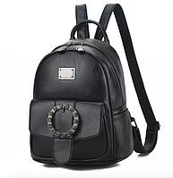 Рюкзак женский кожзам с брошкой Черный, фото 1
