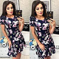 Женское стильное платье с юбкой в складку и цветочным рисунком, фото 1