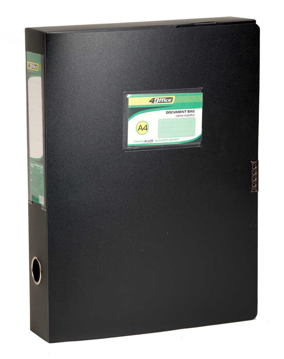 Папка-коробка, A4,  3.7 см, на липучке,черная , PP, 4-242, 4OFFICE