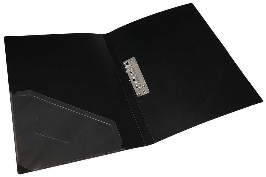 Папка с прижимом+карман, А4, 500 мкн, черная, PP, 4-221-04, 4OFFICE