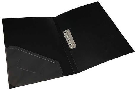 Папка с прижимом+карман, А4, 500 мкн, черная, PP, 4-221-04, 4OFFICE, фото 2