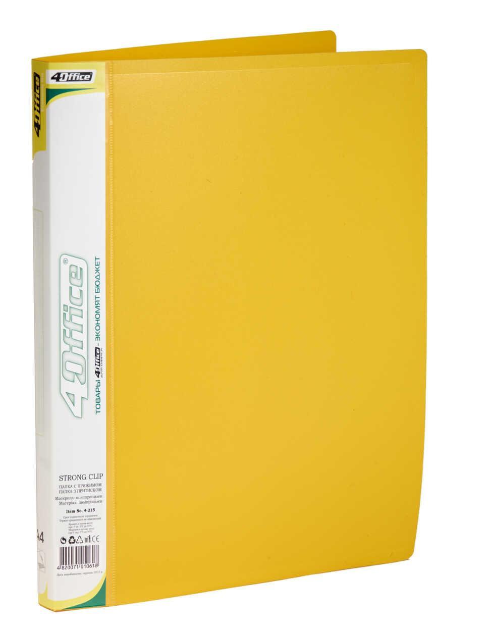 Папка, А4, с прижимом+карман, 450мкн PP, желтая, 4-215, 4OFFICE Ec.L.