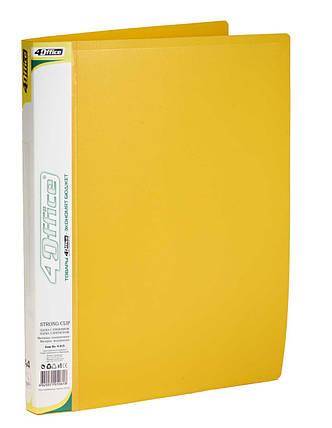 Папка, А4, с прижимом+карман, 450мкн PP, желтая, 4-215, 4OFFICE Ec.L., фото 2