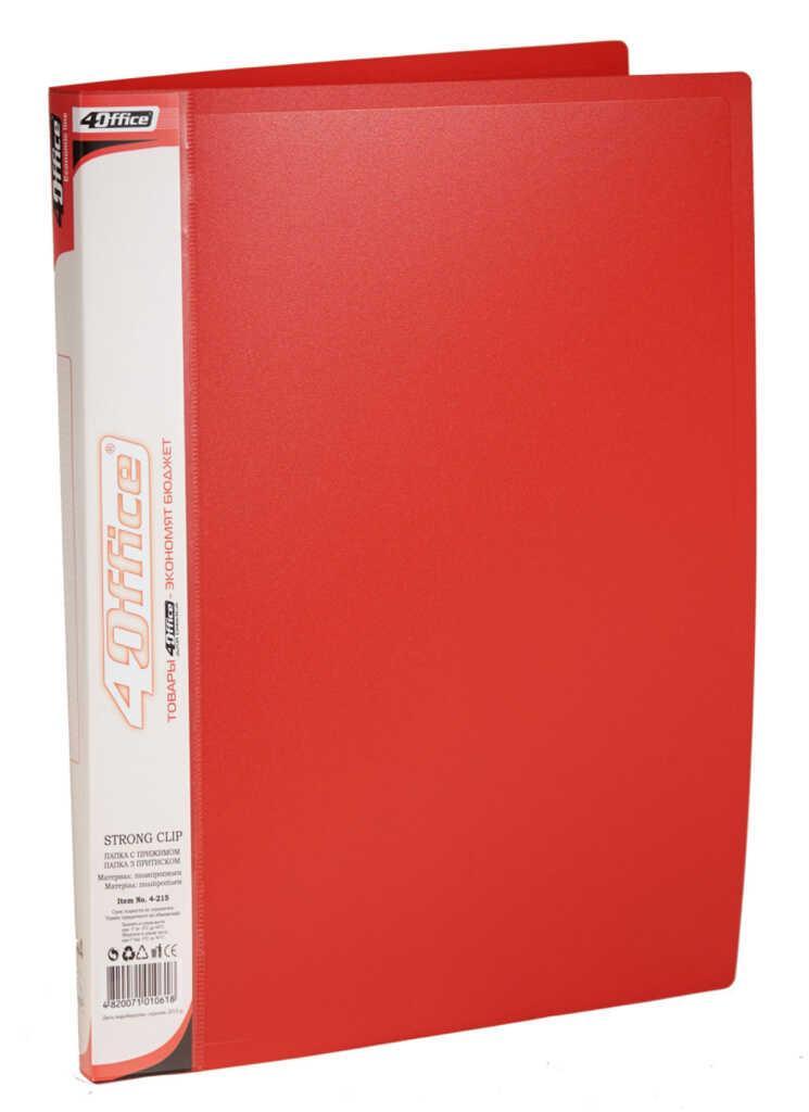 Папка, А4, с прижимом+карман, 450мкн PP, красная., 4-215, 4OFFICE Ec.L.