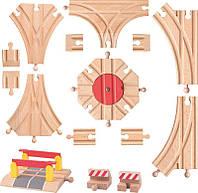 Деревянная дорога дополнительные элементы 15 штук Woody