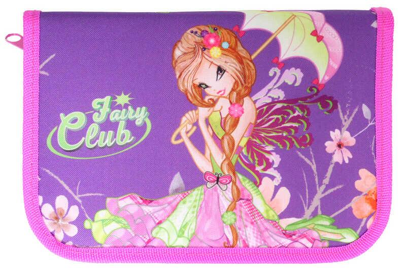 Пенал 1-ярусный с 2отворотами.,пустой, «Fairy Club»,210/70D PL, CLASS, арт. 99205