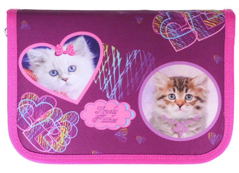 Пенал 1-яр с 1отворотом.,наполн., «Lovely Kitties»,210/70D PL, CLASS, арт. 99301