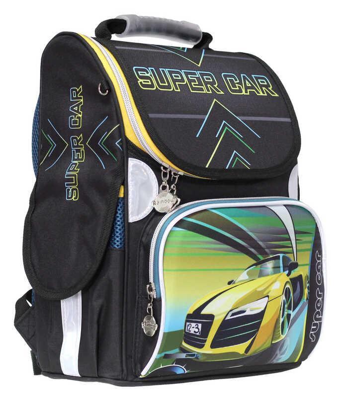 Ранец «Super Car»,2 отд.,34*26*13см,300D PL, RAINBOW, арт. 9-512