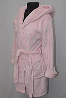 Короткий жіночий махровий халат на запах Туреччина багато квітів
