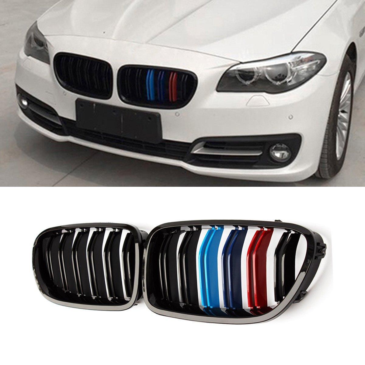 Решетка радиатора ноздри BMW F10 стиль M5 (острые) черный глянц + колор