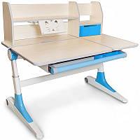 Детский стол парта Evo-Kids Ontario голубой (полки, регулировка), фото 1