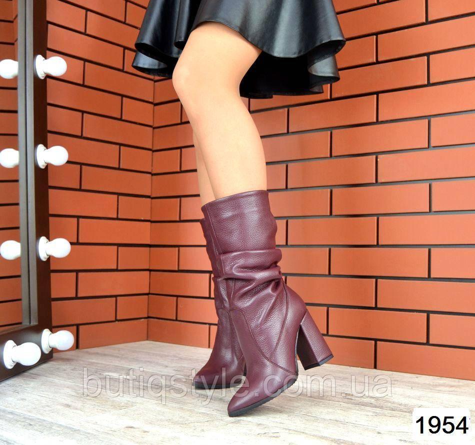Женские сапожки марсал натур.кожа на каблуке зима