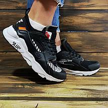 Кроссовки женские в стиле Nike Huarache Off-White черные, фото 3