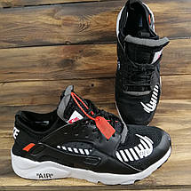 Кроссовки женские в стиле Nike Huarache Off-White черные, фото 2