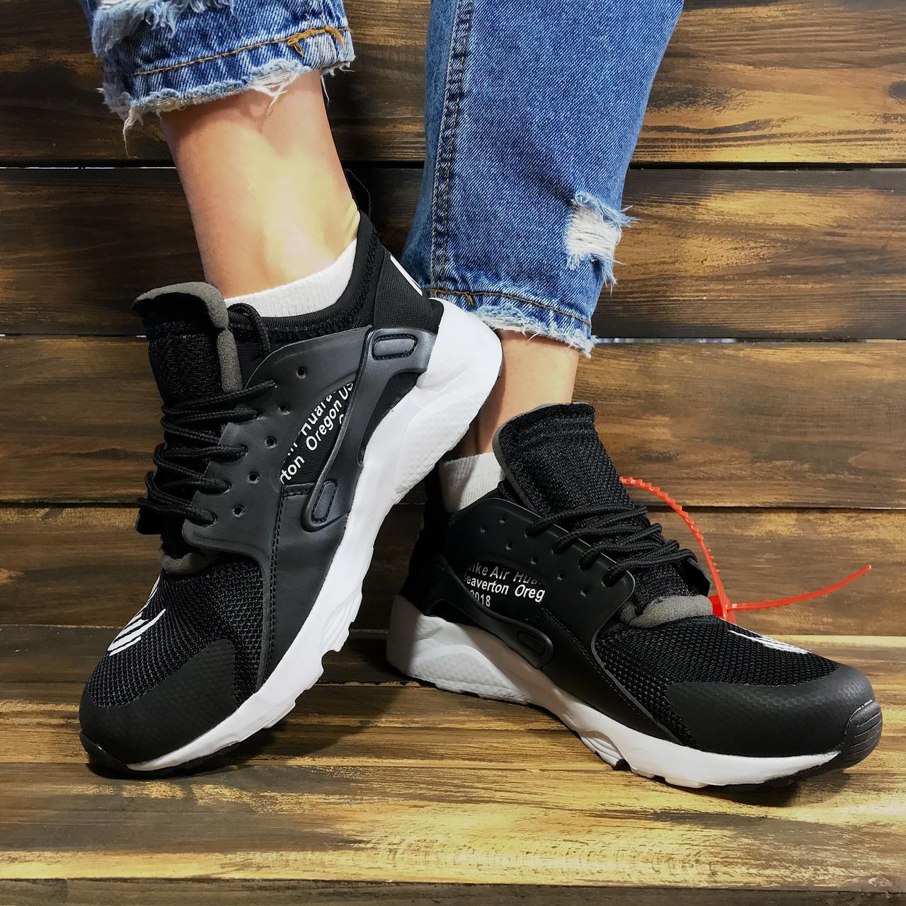 Кроссовки женские в стиле Nike Huarache Off-White черные