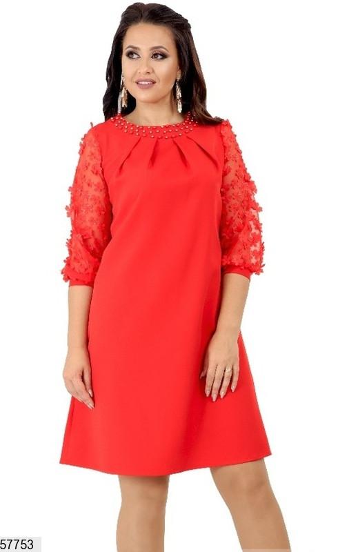 Красное нарядное платье-трапеция больших размеров