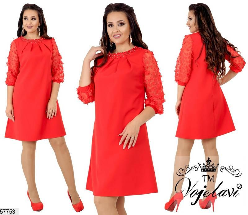 Красное нарядное платье-трапеция больших размеров, фото 2