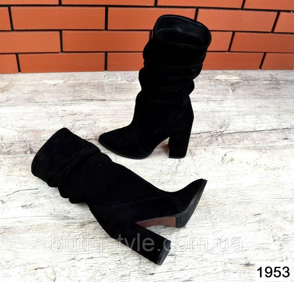 Черные женские сапожки натур.замшана каблуке Зима