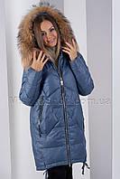 Крутой пуховик с натуральным мехом енота Wow lodykoko 976 цвета джинс, фото 1
