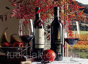 Алмазная вышивка вино 40х30 см, полная выкладка, квадратные стразы НА ПОДРАМНИКЕ 30х40 см