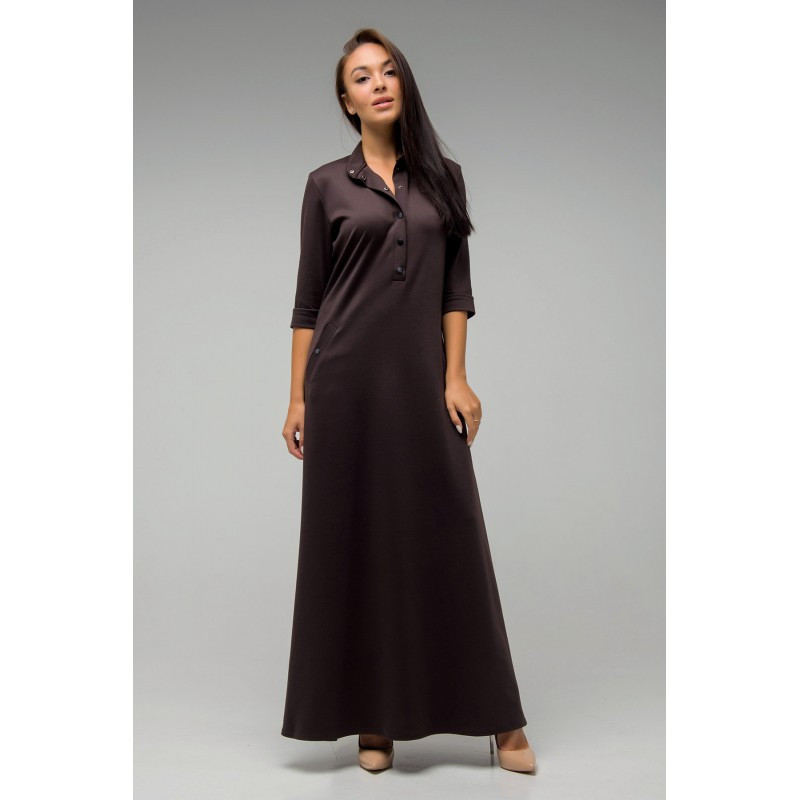 Длинное платье Антарес шоколад(44-52)