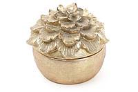 Декоративная шкатулка Лотос, 10см, цвет - состаренное золото