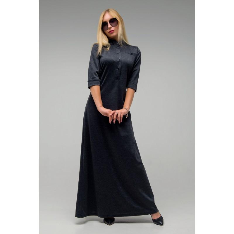 Длинное платье Антарес темно-серый(44-52)