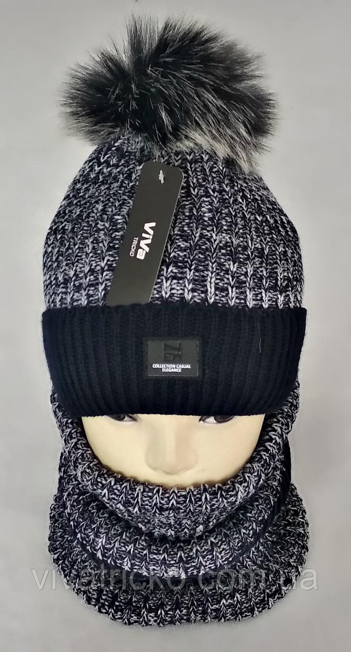 М 5001 Комплект шапка с помпоном і баф , акріл, фліс, різні кольори