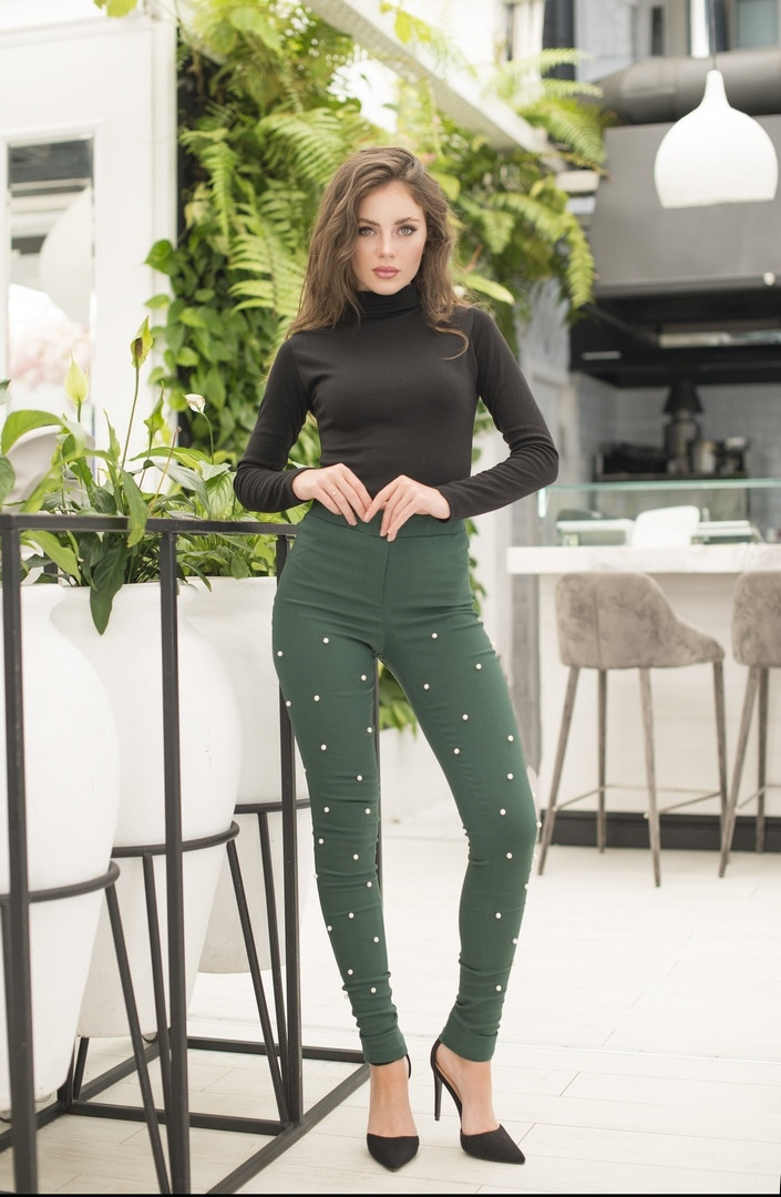 """Стильные женские джинсовые брюки """"Мардж"""" с жемчугом (4 цвета)"""