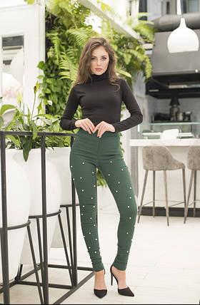"""Стильные женские джинсовые брюки """"Мардж"""" с жемчугом (4 цвета), фото 2"""