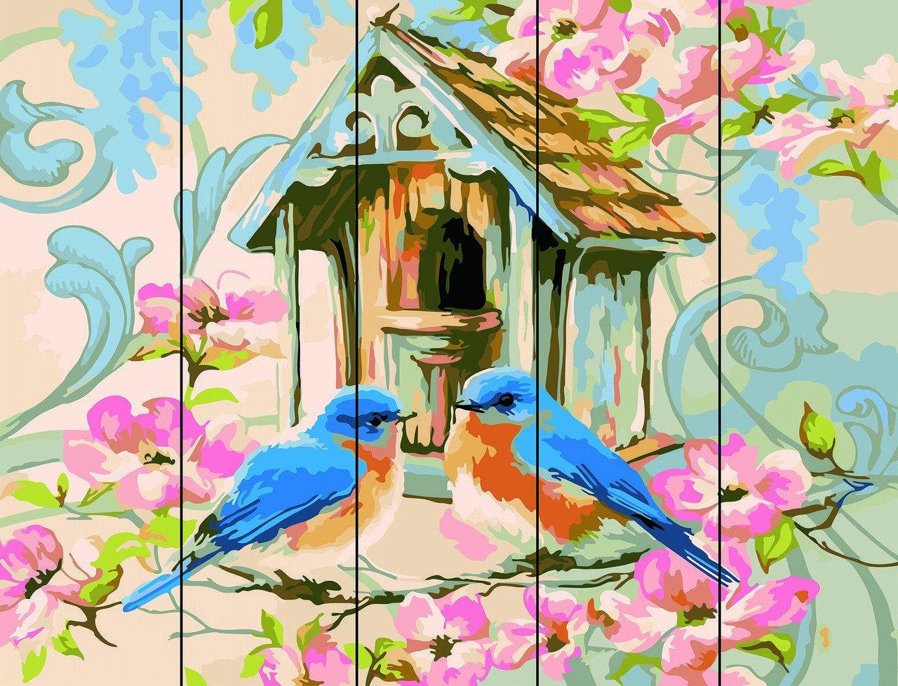 Картина по номерам по дереву Синички Rainbow Art RA-AS0057 40 х 50 см
