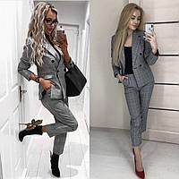 Костюм 2-ка женский брючный, повседневный, офисный, стильный, деловой, в клетку, укороченные брюки