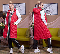 Длинная  женская жилетка на синтепоне супер батал