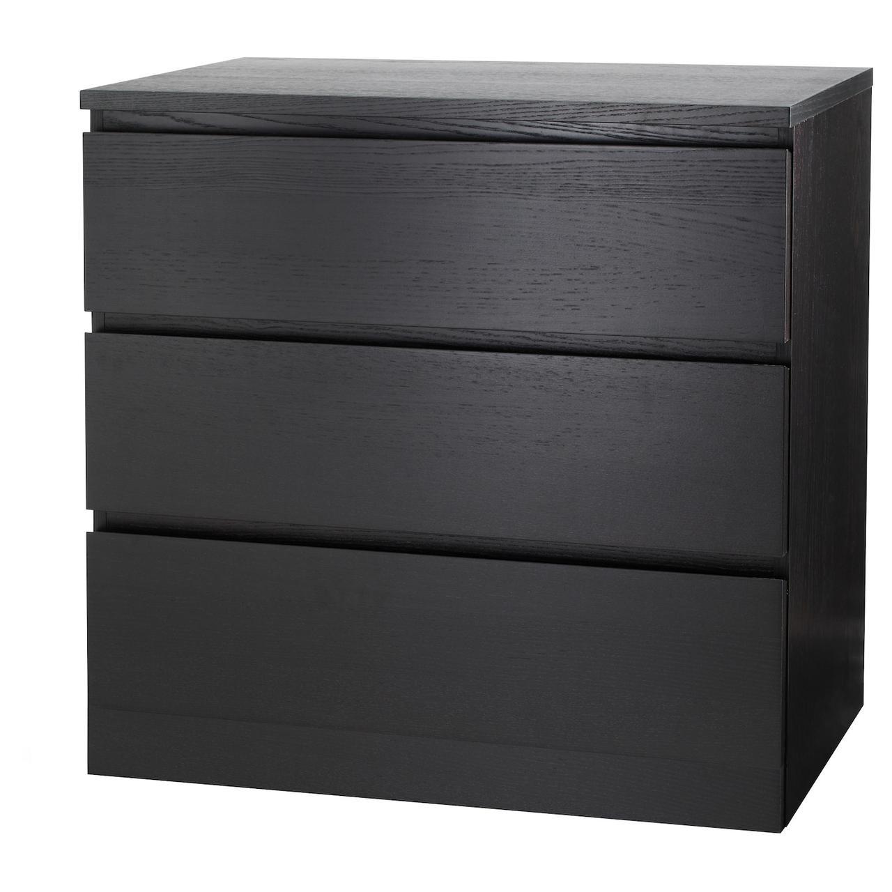 Комод IKEA MALM 80x78 см с 3 ящиками черно-коричневый 204.035.57