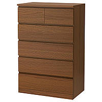 Комод IKEA MALM 80x123 см с 6 ящиками коричневая морилка ясеневый шпон 404.035.99