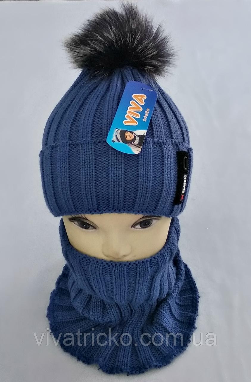 М 5004 Комплект шапка с помпоном і манішка для хлопчиків ,фліс, різні кольори