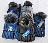 М 5004 Комплект шапка с помпоном і манішка для хлопчиків ,фліс, різні кольори, фото 3