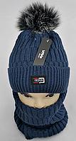 М 5005 Комплект шапка с помпоном і хомут для хлопчиків ,фліс, різні кольори