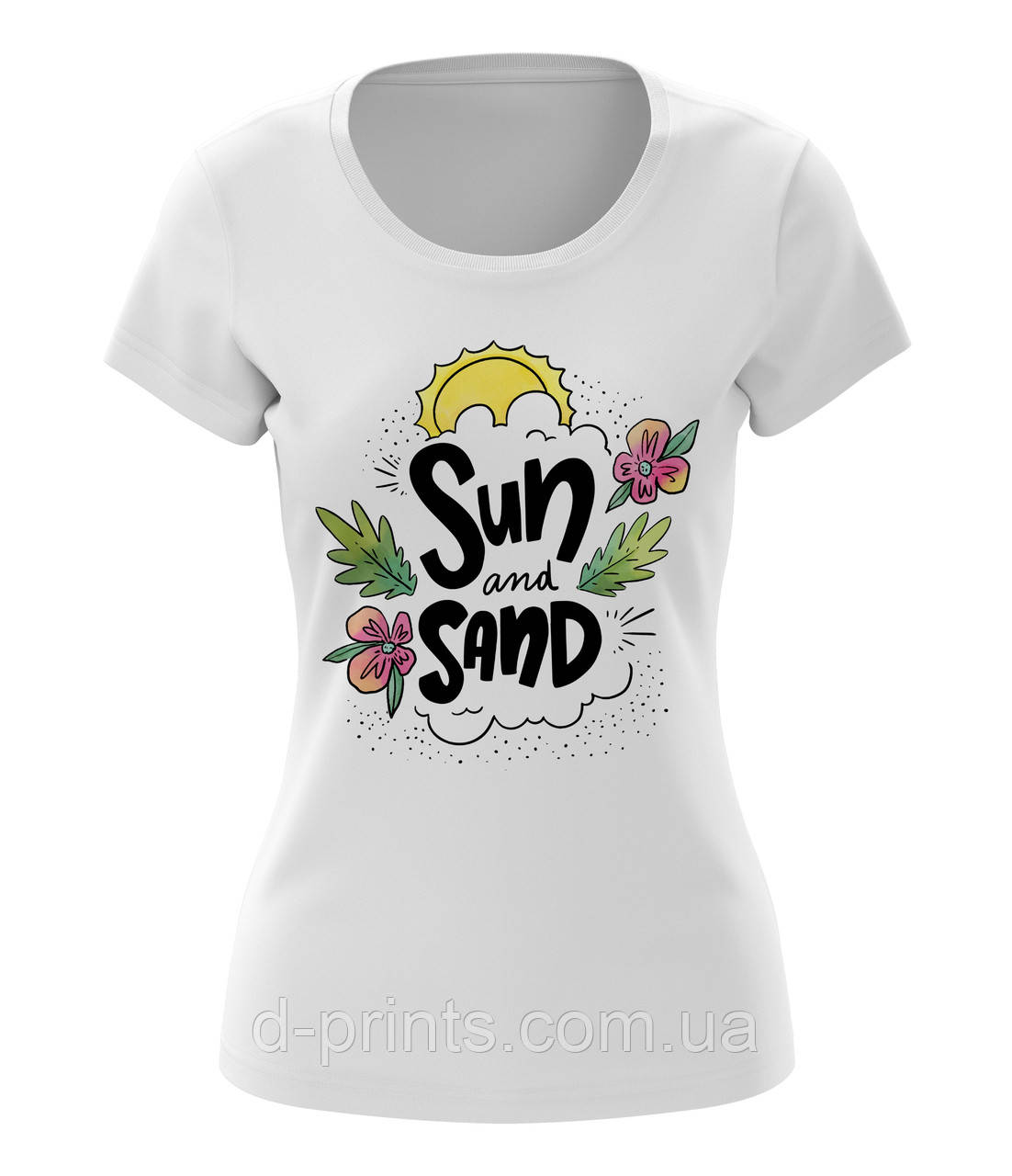"""Футболка жіноча з малюнком """"Sun Sand """""""