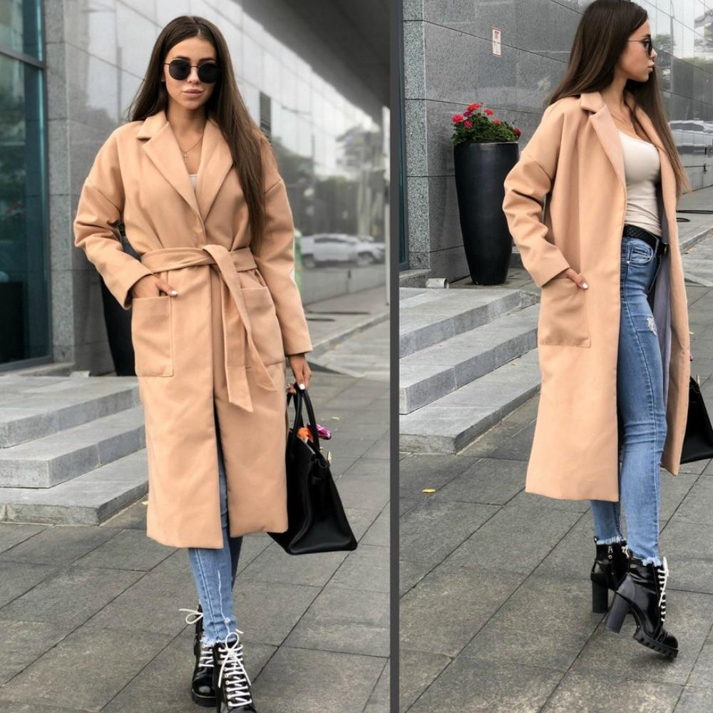 Пальто женское кашемировое на подкладке, удлиненное, с карманами, под пояс, стильное, эффектное, фото 1