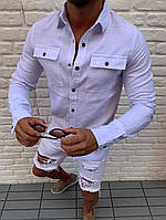 Мужская белая рубашка с карманами