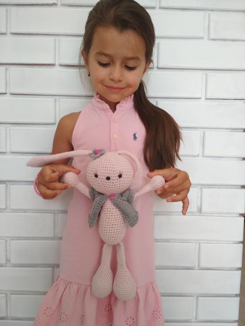 Мягкая игрушка Зайчик Розовый ручной работы